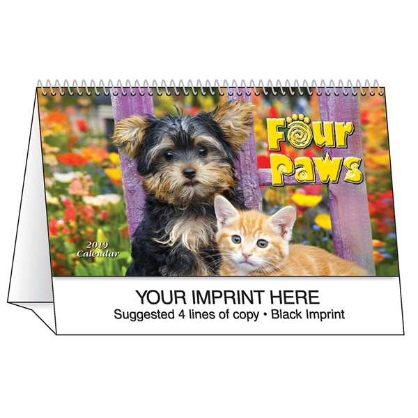 Custom Four Paws desk tent calendar