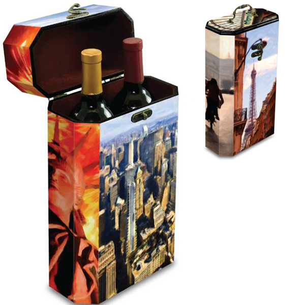 Printed Two-Bottle Artist Wine Box Destinations