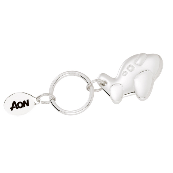 Imprinted Silver Plated Airplane Charm Key Chain