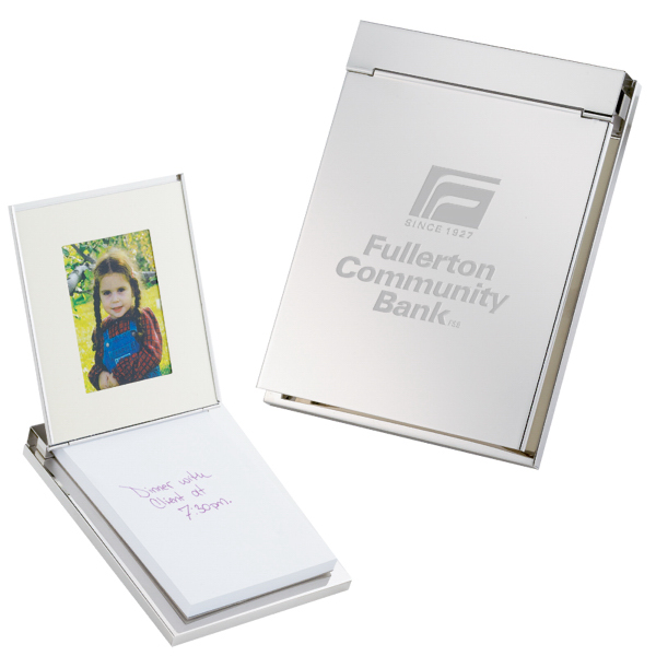 Customized Silver Plated Memo Pad w/Picture Frame