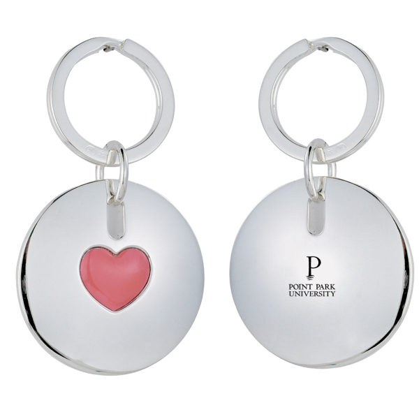 Imprinted Silver Plated Heart Keychain
