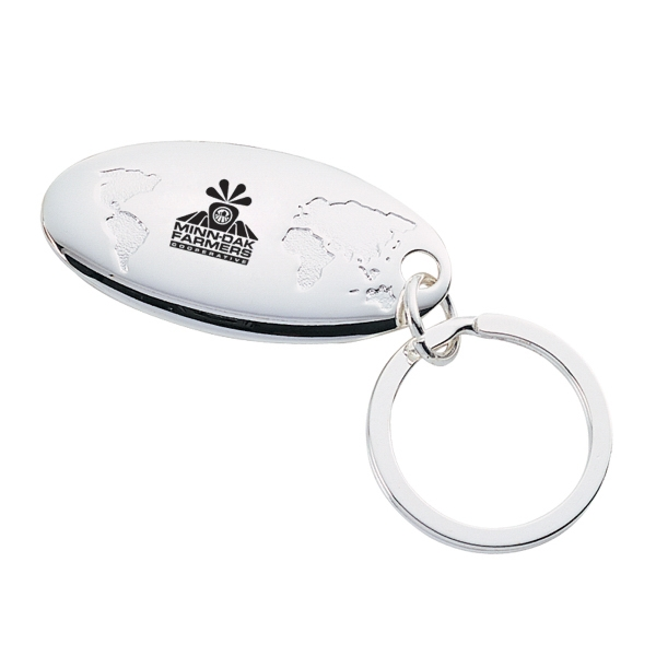 Customized Silver Plated Global Key Chain