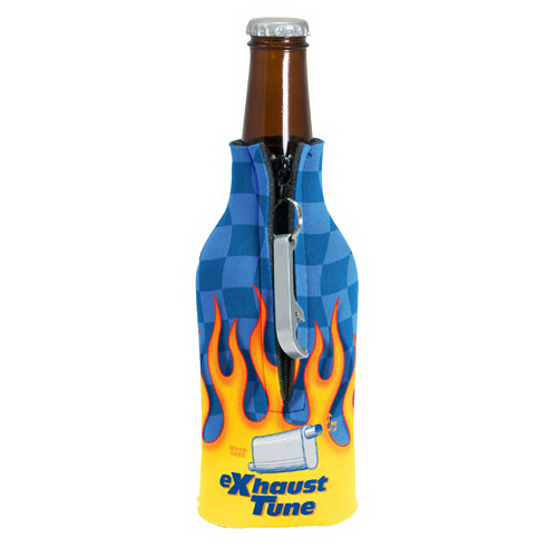 Imprinted Zippered Bottle Coolie (TM) With Bottle Opener