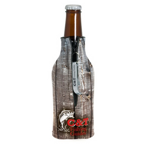 Printed Zippered Bottle Coolie (TM) With Bottle Opener
