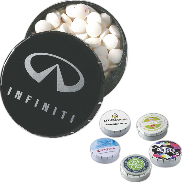 Promotional Digitally Imprinted Snap-It Tin with Mints