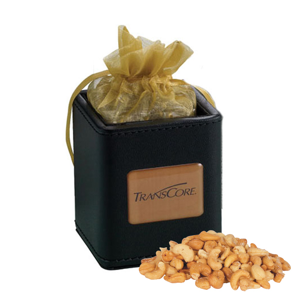 Customized X-Cube Pen Holder filled with jumbo cashews