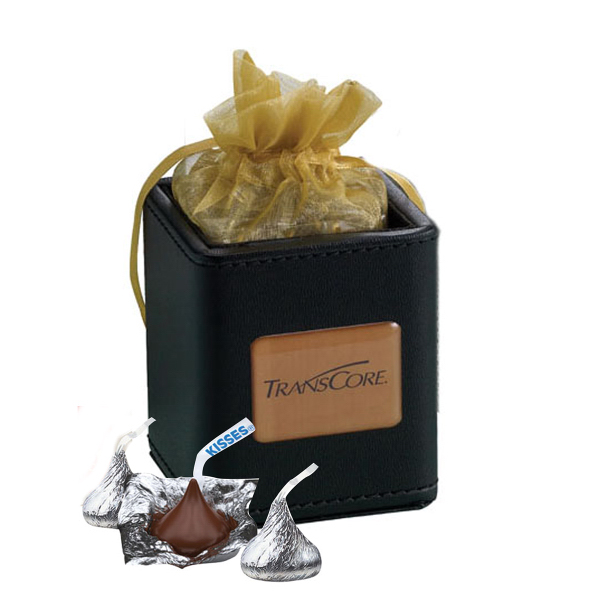 Printed X-Cube Pen Holder filled with foil wrapped chocolate