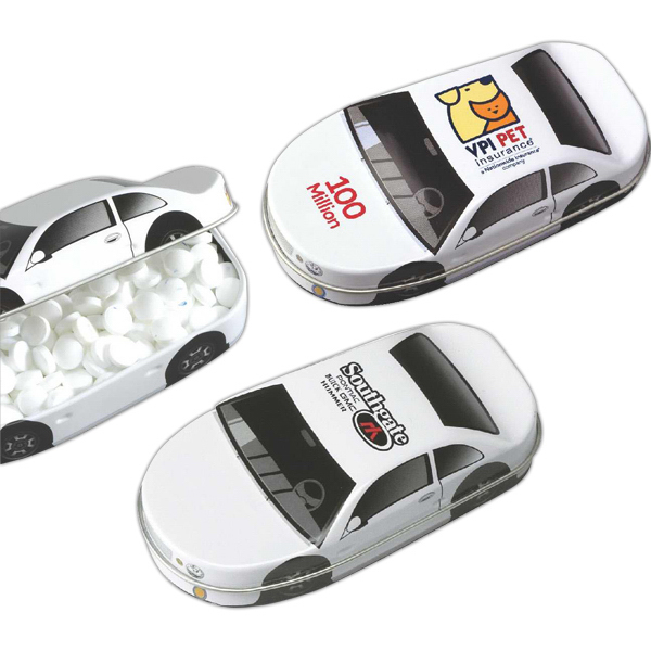"Printed Your First Car"" Car Shaped Tin Filled with Refreshing Mints"