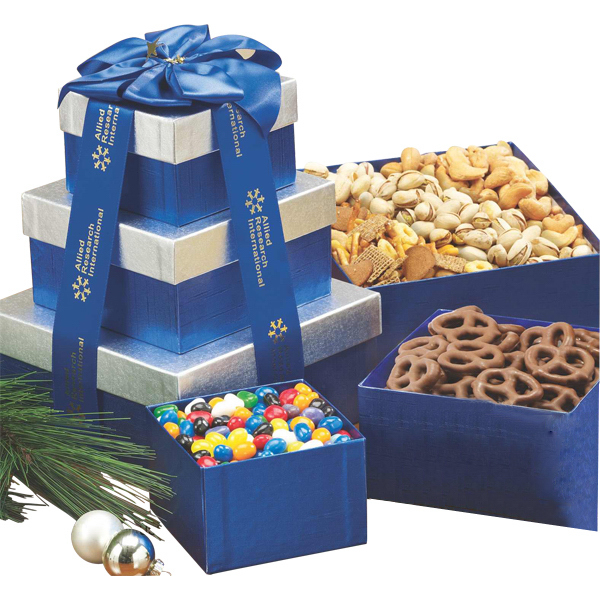 Imprinted Sweet and Savory Gift Tower w Assorted Nuts and Confections