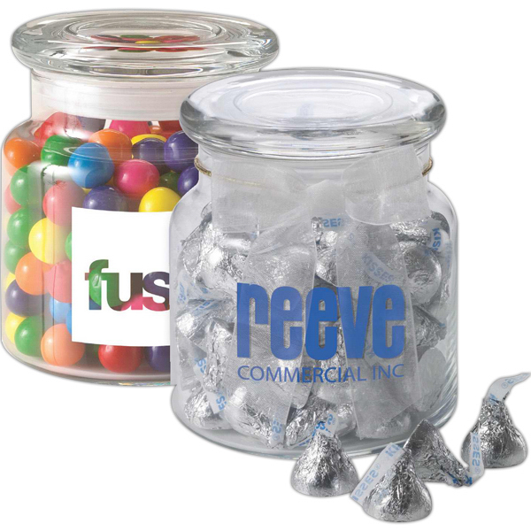 Imprinted 22 oz glass jar filled with Hershey's Chocolate Kisses (R)