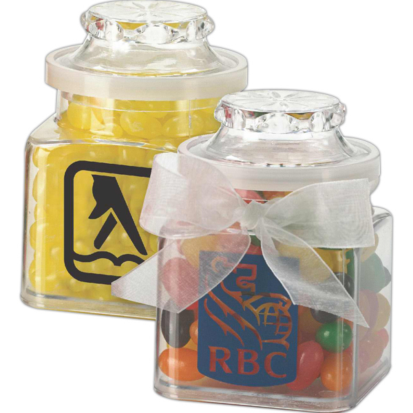 Imprinted Plastic Jar with ribbon filled with rainbow bubble gum