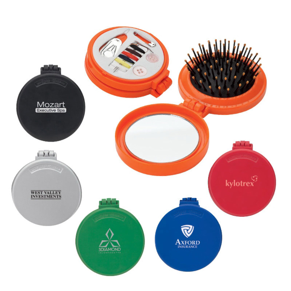 Promotional Brush, mirror and sewing kit