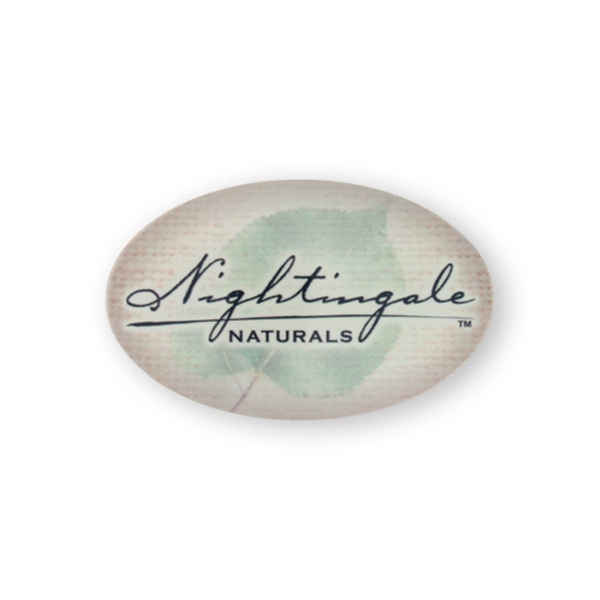 "Imprinted Button- 1 3/4 inch x 2 3/4"" oval button"