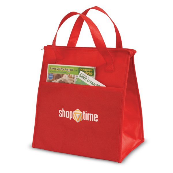 Promotional Insulated Shopping Tote With Extended Pocket