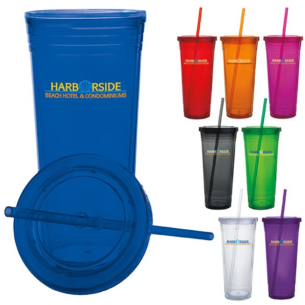 Promotional Double Wall Acrylic Tumbler - 24 oz