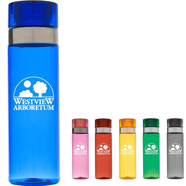 Personalized Sports Bottle with Metallic Ring - 28 oz