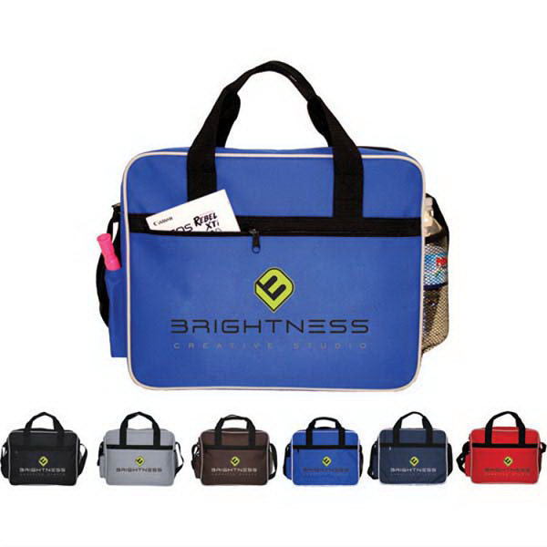 Imprinted Briefcase with side mesh pocket