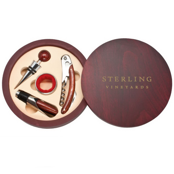 Imprinted Montalcino - Round 4 Piece Wine Tool Set