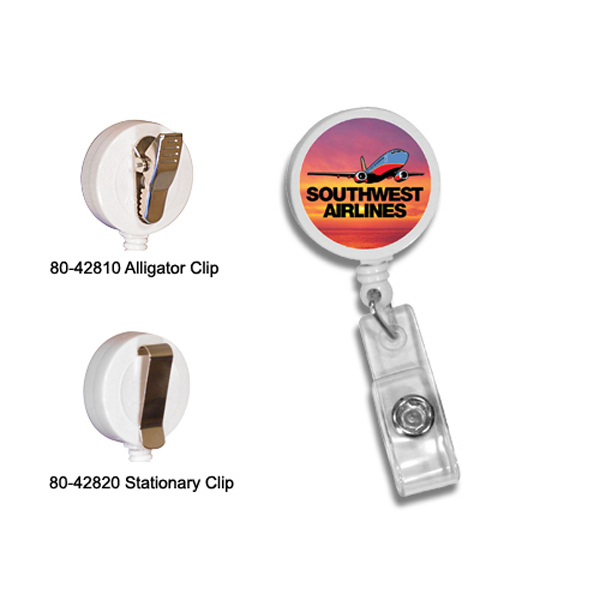 Imprinted Round Badge Holder with Alligator Clip, Full Color Digital