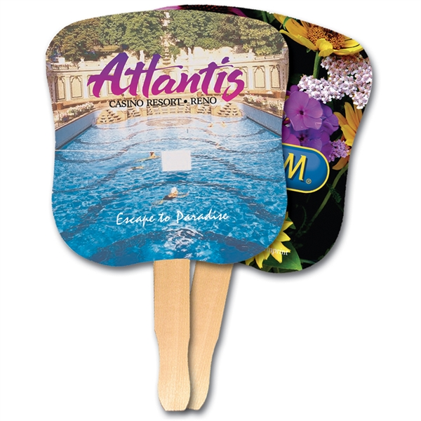 Personalized Hourglass Shaped Hand Fan, Full Color Digital