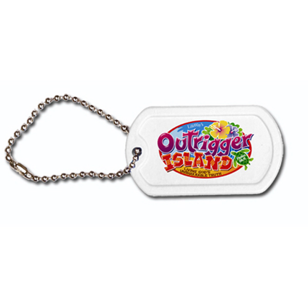 "Customized Plastic Dog Tag, 4 1/2"" Ball Chain, Full Color Digital"