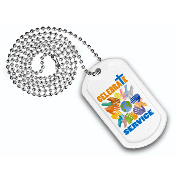 "Imprinted Plastic Dog Tag, 23 1/2"" Ball Chain with Full Color Digital"