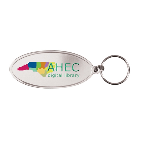 Promotional Oval Metal Key Tag, Full Color Digital