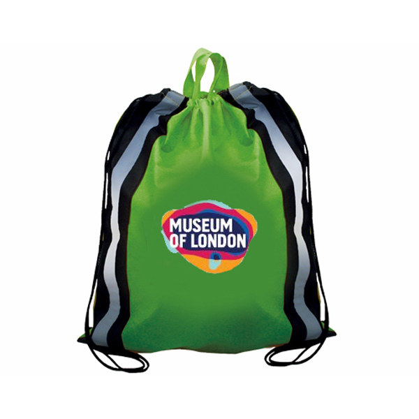 Printed Non-Woven Reflective Drawstring Backpack, Full Color Digital