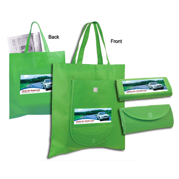 Custom Non-Woven Fold 'n Go Tote Bag, Full Color Digital