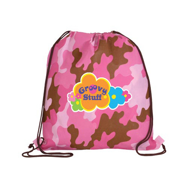 Promotional Non-Woven Camo Drawstring Backpack, Full Color Digital
