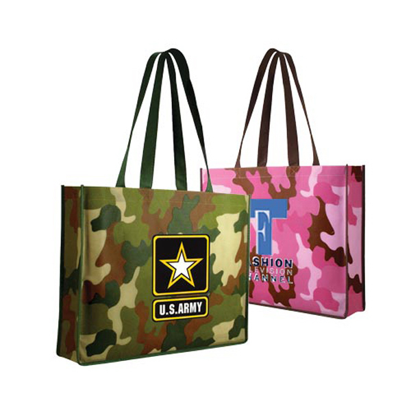 Custom Non-Woven Camo Tote Bag, Full Color Digital