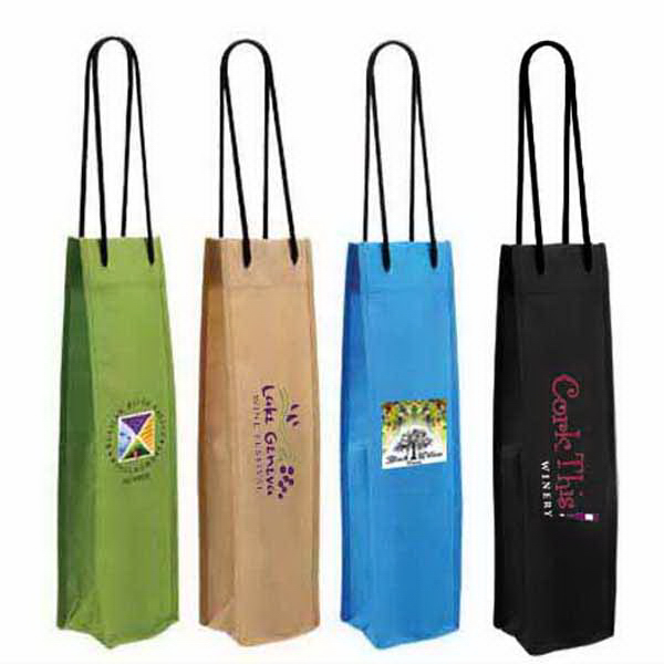 Customized Non-Woven Single Wine Bottle Bag, Full Color Digital