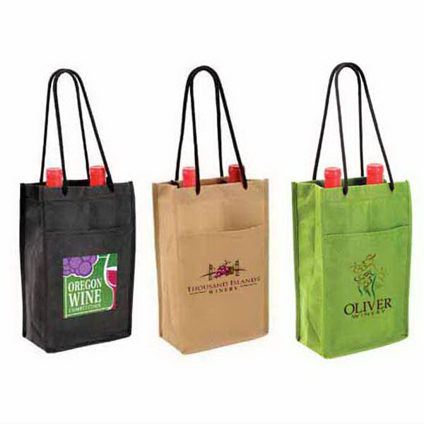 Imprinted Non-Woven Double Wine Bottle Bag, Full Color Digital