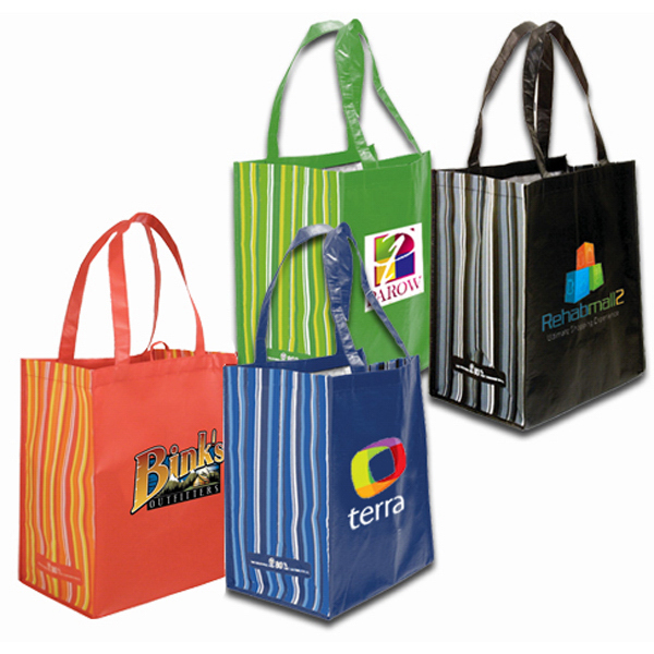 Imprinted RPET Striped Tote Bag, Full Color Digital