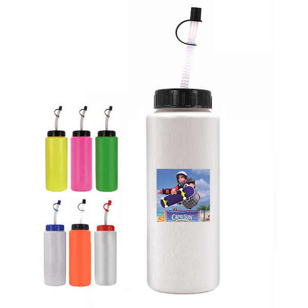 Customized 32 oz. Sports Bottle with Flexible Straw (1 side)