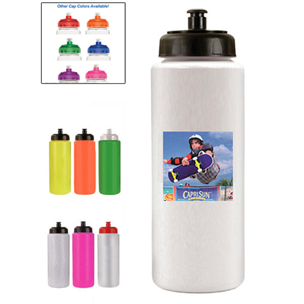 Imprinted 32 oz. Sports Bottle with Push 'n Pull Cap (1 Side)