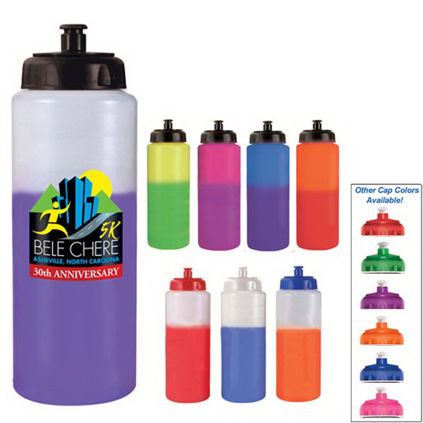 Promotional 32 oz. Mood Sports Bottle with Puxh 'n Pull Cap (1 Side)