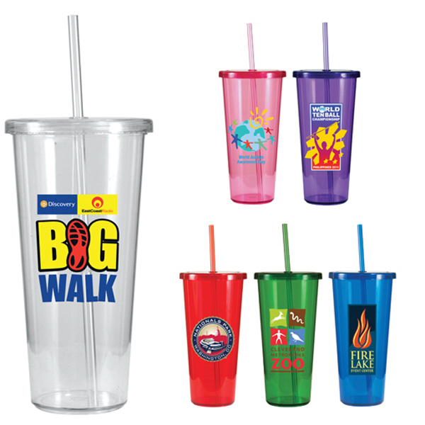 Customized 24 oz. Single-Wall Tumbler with Straw, Full Color Digital