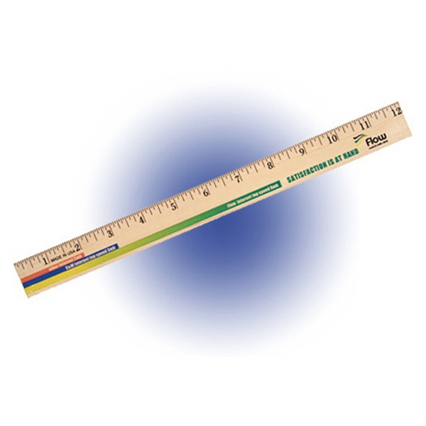 "Customized 12"" Clear Lacquer Wood Ruler, Full Color Digital"