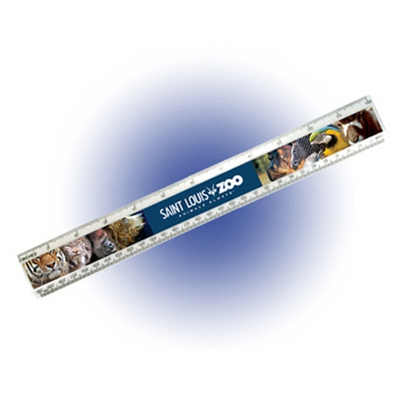 "Imprinted 12"" Beveled Plastic Ruler, Full Color Digital"