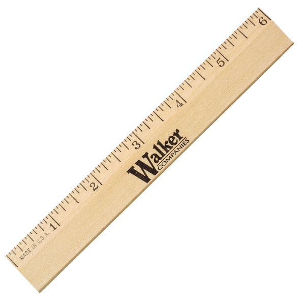 "Printed 6"" Clear Lacquer Beveled Wood Ruler"
