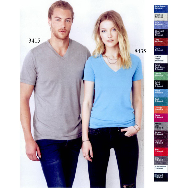 Imprinted Bella + Canvas Triblend V-neck T-shirt