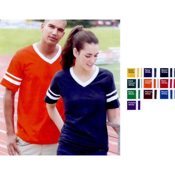 Promotional Augusta Sportswear (R) V-neck Jersey with Striped Sleeves