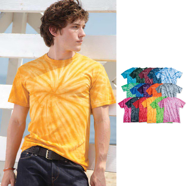 Imprinted Tie-dyed cyclone vat-dyed pinwheel short sleeve t-shirt