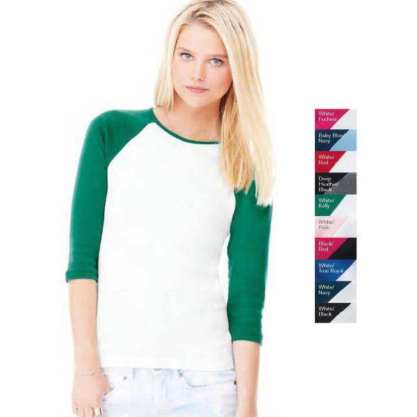 Imprinted Bella Ladies' Baby Rib 3/4 Sleeve Raglan T-shirt