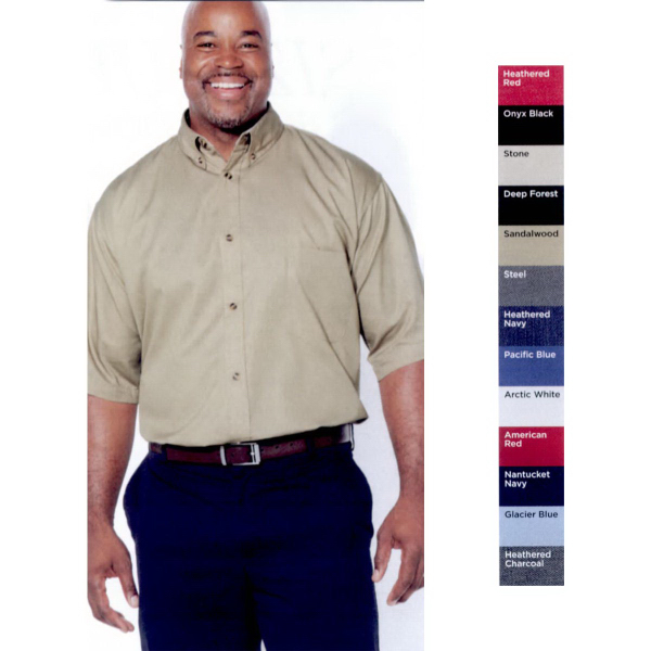 Imprinted FeatherLite (R) Short Sleeve Stain Resistant Twill Shirt