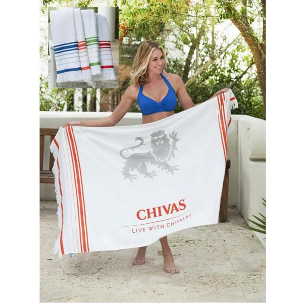 Printed Turkish Signature (TM) Fringed Beach Towel