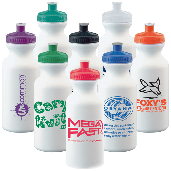 Imprinted 20 oz White Economy Bike Bottle
