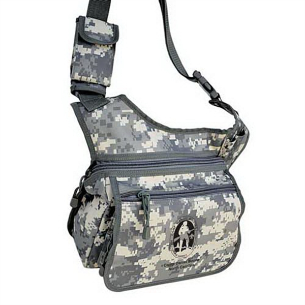 Imprinted ACU camo sling shoulder pack