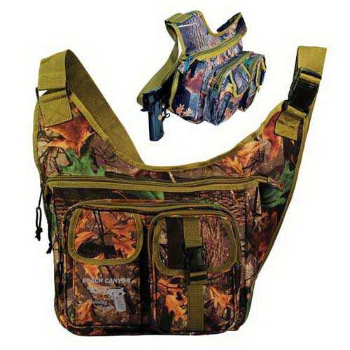 Printed Wildland (R) camo sling shoulder pack with gun pocket